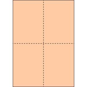 A4 ミシン目用紙 縦4分割タイプ 色上質(びわ色)【厚み:やや厚め(44.5k)】2000枚|kiuchi-printing