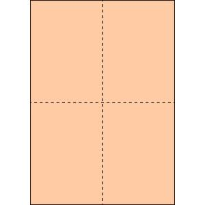 A4 ミシン目用紙 縦4分割タイプ 色上質(びわ色)【厚み:コピー用紙(35kg)】2000枚|kiuchi-printing