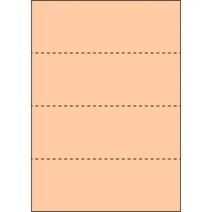 A4 ミシン目用紙 横4分割タイプ 色上質(びわ色)【厚み:コピー用紙(35kg)】2000枚|kiuchi-printing