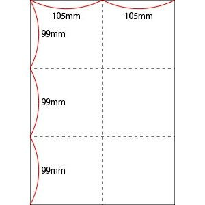 A4 ミシン目用紙 6分割タイプ 上質(白色)【厚み:コピー用紙(35kg)】2000枚|kiuchi-printing|02