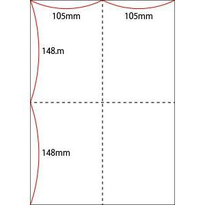 A4 ミシン目用紙 縦4分割タイプ 上質(白色)【厚み:コピー用紙(35kg)】2000枚|kiuchi-printing|02