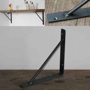 棚受け金具 おしゃれ アイアン Mサイズ スリムストレートタイプ L字金具 棚 DIY 壁付け ブラケット 黒|kiwakuya