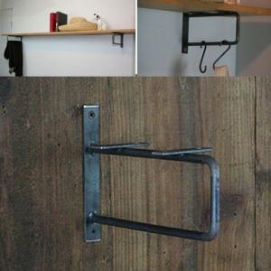 棚受け金具 おしゃれ アイアン アイアンバー Mサイズ スクエアタイプ L字金具 棚 DIY 壁付け ブラケット 黒|kiwakuya