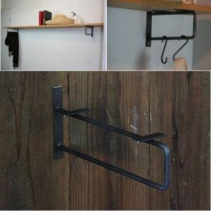 棚受け金具 おしゃれ アイアン アイアンバー Lサイズ スクエアタイプ L字金具 棚 DIY 壁付け ブラケット 黒|kiwakuya
