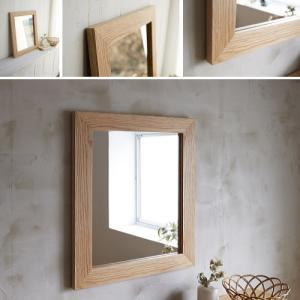 木枠 鏡 壁掛け 北欧 無垢材 オーク(楢)材 630×530mm 洗面所 おしゃれ アンティーク 洗面 鏡 木枠 木製 ウォールミラー 姿見|kiwakuya