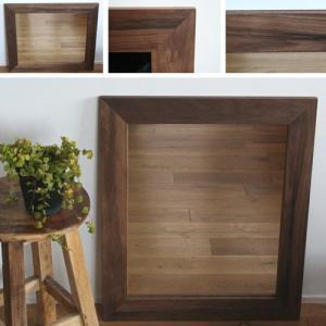 木枠 鏡 壁掛け 北欧 無垢材 ブラックウォルナット材 630×530mm 洗面所 おしゃれ アンティーク 洗面 鏡 木枠 木製 ウォールミラー 姿見|kiwakuya
