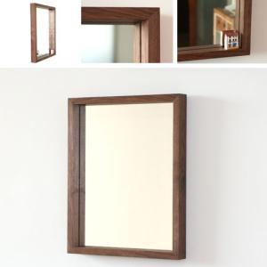 木枠 鏡 壁掛け 北欧 無垢材 ブラックウォルナット材 450×550mm 洗面所 おしゃれ アンティーク 洗面 鏡 木枠 木製 ウォールミラー 姿見|kiwakuya