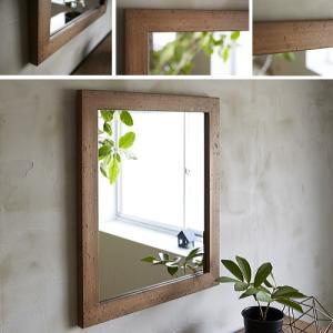 木枠 鏡 壁掛け 北欧 無垢材 パイン材 500×600mm ライトブラウン 洗面所 おしゃれ アンティーク 洗面 鏡 木枠 木製 ウォールミラー 姿見|kiwakuya
