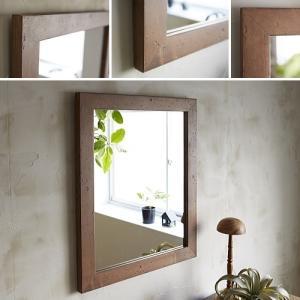 木枠 鏡 壁掛け 北欧 無垢材 パイン材 500×600mm ブラウン 洗面所 おしゃれ アンティーク 洗面 鏡 木枠 木製 ウォールミラー 姿見|kiwakuya