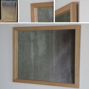 木枠 鏡 壁掛け 北欧 無垢材  タモ材 650×500 枠幅30mm 洗面所 おしゃれ アンティーク 洗面 鏡 木枠 木製 ウォールミラー 姿見|kiwakuya