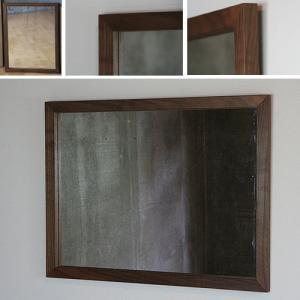 木枠 鏡 壁掛け 北欧 無垢材 ブラックウォルナット材 650×500 枠幅30mmサイズ 洗面所 おしゃれ アンティーク 洗面 鏡 木枠 木製 ウォールミラー 姿見|kiwakuya