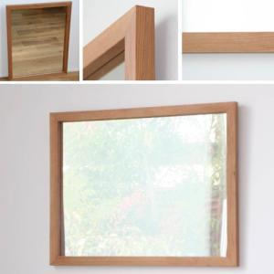 木枠 鏡 壁掛け 北欧 無垢材 ブラックチェリー材 650×500 枠幅30mmサイズ 洗面所 おしゃれ アンティーク 洗面 鏡 木枠 木製 ウォールミラー 姿見|kiwakuya