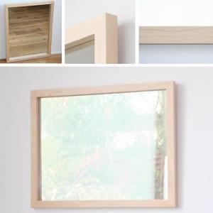 木枠 鏡 壁掛け 北欧 無垢材 ハードメープル材 650×500 枠幅30mm  洗面所 おしゃれ アンティーク 洗面 鏡 木枠 木製 ウォールミラー 姿見|kiwakuya