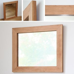 木枠 鏡 壁掛け 北欧 無垢材 ブラックチェリー材 630×530mm 洗面所 おしゃれ アンティーク 洗面 鏡 木枠 木製 ウォールミラー 姿見|kiwakuya