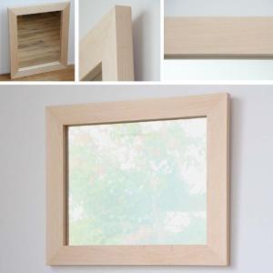 木枠 鏡 壁掛け 北欧 無垢材 ハードメープル材 630×530mm 洗面所 おしゃれ アンティーク 洗面 鏡 木枠 木製 ウォールミラー 姿見|kiwakuya