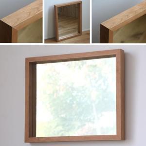 木枠 鏡 壁掛け 北欧 無垢材 ブラックチェリー材 450×550mm 洗面所 おしゃれ アンティーク 洗面 鏡 木枠 木製 ウォールミラー 姿見|kiwakuya