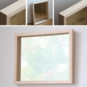 木枠 鏡 壁掛け 北欧 無垢材 ハードメープル材 450×550mm 洗面所 おしゃれ アンティーク 洗面 鏡 木枠 木製 ウォールミラー 姿見|kiwakuya