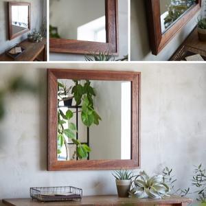 木枠 鏡 壁掛け 北欧 無垢材 ブラックウォルナット ダブルフレーム 610×610mm 洗面所 おしゃれ アンティーク 洗面 鏡 木枠 木製 ウォールミラー 姿見|kiwakuya