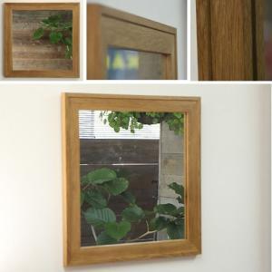 木枠 鏡 壁掛け 北欧 無垢材 オーク ダブルフレーム ミラー 610×610mm 洗面所 おしゃれ アンティーク 洗面 鏡 木枠 木製 ウォールミラー 姿見|kiwakuya