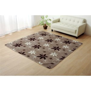 ラグマット カーペット 3畳 洗える 抗菌 防臭 ブラウン 約200×250cm (ホットカーペット対応)|kiwami-honpo