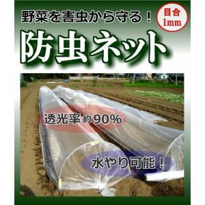 防虫ネット 幅135cm×長さ20m (1mm目合) 作物栽培で使う銀色ライン入ネット。園芸・農業用防虫網 kiyo-store