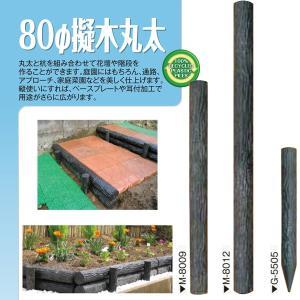 直送/擬木丸太 φ80×900mm 6本組 プラスチック木肌樹脂丸太・リサイクル樹脂製 大研化成工業 M-8009 kiyo-store