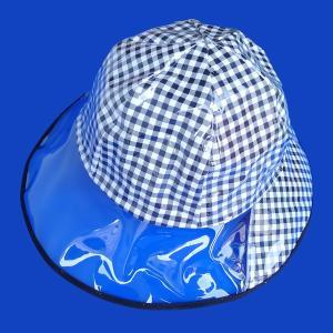 メール便/レインハット 大人用雨帽子 チェック 格子柄 日本製ビニール帽子 あごゴム付き 鈴木プラスチック工業 C-TK-3706 kiyo-store 02
