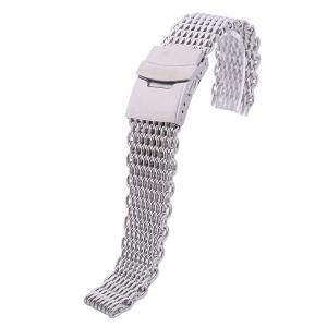 Best Master シャークメッシュ ブレスレット ビンテージ ダイバースタイル 腕時計 ベルト ステンレス 艶あり シルバー バネ棒 バネ棒外し クロス 付属 18mm|kizashi