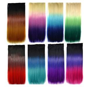 CEXIN(セシン) レディース ウィッグ エクステ 襟足ウィッグ 「5個 固定用クリップを付け」 3色 グラデーション メッシュ ストレート ポイントつけ毛 部分かつら|kizashi