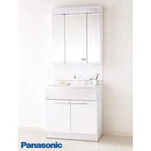 【GQM75KSCW+GQM75K3SMK】 《KJK》 パナソニック 洗面化粧台 エムライン 3面鏡 ミラーキャビネット 750幅 くもりシャット付 ωα2|kjk