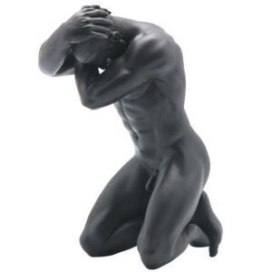 頭を抱える男性 ヌード セクシー マットブラック 置物 フィギュア