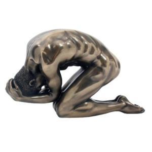 跪く男性 ヌード 嘆き ブロンズ風 フィギュア 15.6cm