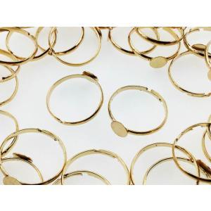 リング パーツ 指輪 6mm台座付き ゴールド 50個 サイ...