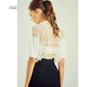 radiance de SYHSE/ラディアンス ド シセ レース Tシャツ デザインカットソー オフホワイト|kkp