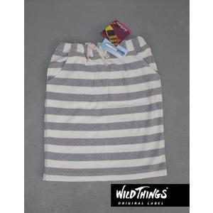 WildThings ワイルドシングス クールマックス パイルボーダー MIDI スカート|kkp