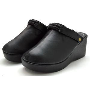 送料無料 [北海道、沖縄除く] 厚底サンダル 09-100 サボサンダル ウエッジソール 2WAY レディース 婦人 ブラック 靴|kksimple