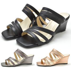 ミュールサンダル 4406 ヘップサンダル ウエッジソール レディース 婦人 ブラック スチール ピンク/ゴールド 靴|kksimple