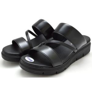 オフィスサンダル 5003 ウエッジソール レディース 婦人 日本製 ブラック ダークシルバー 靴|kksimple