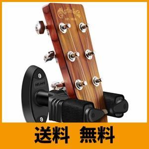 壁にネジ止めするタイプの楽器用ハンガー。ハンガーに重さが掛かると先端のアームが回り、ネックをロックし...