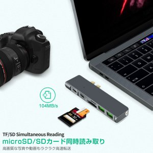 USB Type C MacBook Pro ハブ MacBook Air 2019対応 8in1 4K HDMI Thunderbolt3 8K出力 40Gbps PD充電 USB 3.0ポートx3 microSD 3ヶ月保証 K&M|km-serv1ce|07