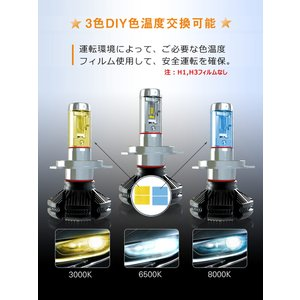 LEDヘッドライト 2個入り 6000LM H4 HI/LO H7 H8 H9 H10 H11 H16 HB3 HB4 HIR2 LEDチップ バイク 車 対応 12V 24V 1年保証 K&M|km-serv1ce|05