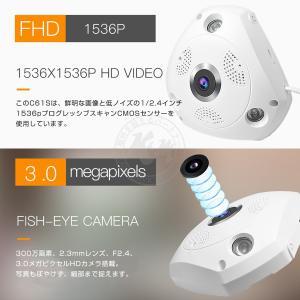 防犯カメラ 300万画素 C61S 魚眼レンズ 360度 ペット ベビー 屋内 無線WIFI SDカード録画 監視 ネットワーク IP WEB カメラ Vstarcam PSE 1年保証 K&M|km-serv1ce|03