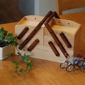 MED-2674 H4374 収納ボックス ソーイングボックス 木製 裁縫箱・お針箱 トレージ 北欧 蓋付き おしゃれ バスケット 木製 リバティ アンティークの写真