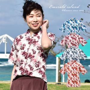 かりゆしウェア レディース 沖縄産アロハシャツ パッチワーク柄 マオカラー半袖 結婚式 ギフト プレゼント 贈り物 母の日 女性用|knit-garden