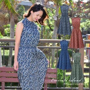 かりゆしウェア レディース 沖縄産アロハシャツ 月下美人小花柄 ワンピース 結婚式 ギフト プレゼント 贈り物 母の日 女性用|knit-garden