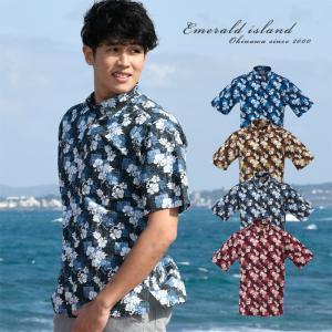 かりゆしウェア メンズ 沖縄産アロハシャツ パッチワーク柄 ボタンダウン リップル加工 父の日 プレゼント ギフト 贈り物 リゾートウエディング 結婚式 男性用|knit-garden