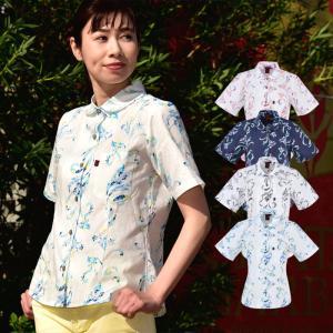 かりゆしウェア レディース 沖縄産アロハシャツ テッポウユリストライプ柄 丸衿半袖シャツ 結婚式 ギフト プレゼント 贈り物 母の日 女性用|knit-garden
