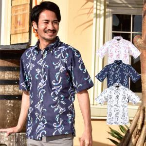 かりゆしウェア メンズ 沖縄産アロハシャツ テッポウユリストライプ柄 ボタンダウン 父の日 プレゼント ギフト 贈り物 リゾートウエディング 結婚式 男性用|knit-garden
