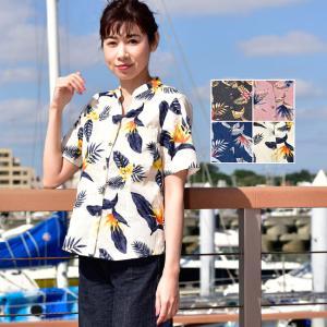 かりゆしウェア レディース 沖縄産アロハシャツ ストレチア柄 スタンドスキッパー半袖 結婚式 ギフト プレゼント 贈り物 母の日 女性用|knit-garden