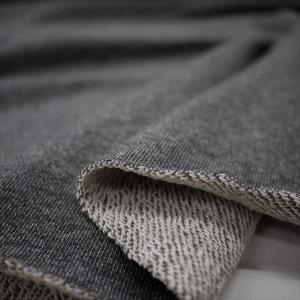 ニット生地 30/10コーマ裏毛 チャコール杢 「スウェット、トレーナー向け定番素材」 knit-yamanokko
